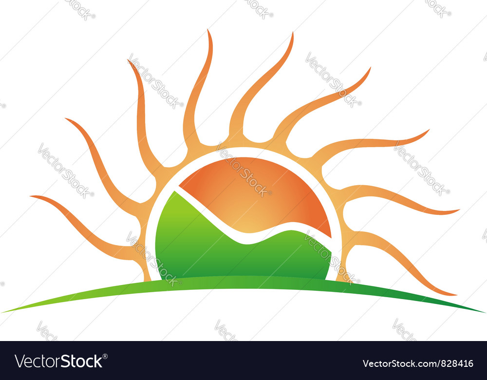 Sun with green mountain vector