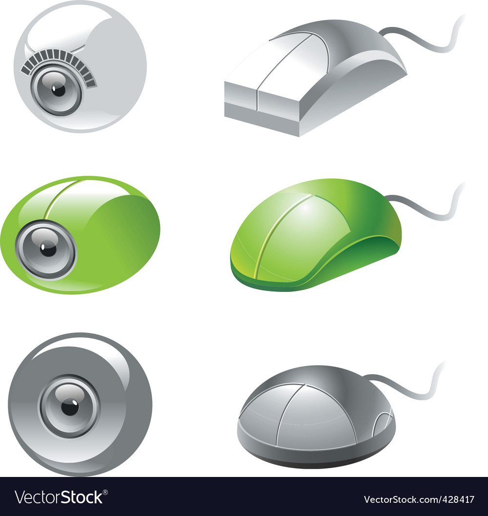 Webcam and mice icons vector