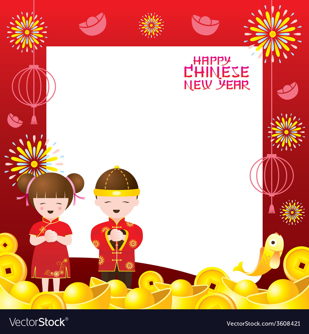 Chinese new year frame with chinese kids vector by muchmania - Image ...