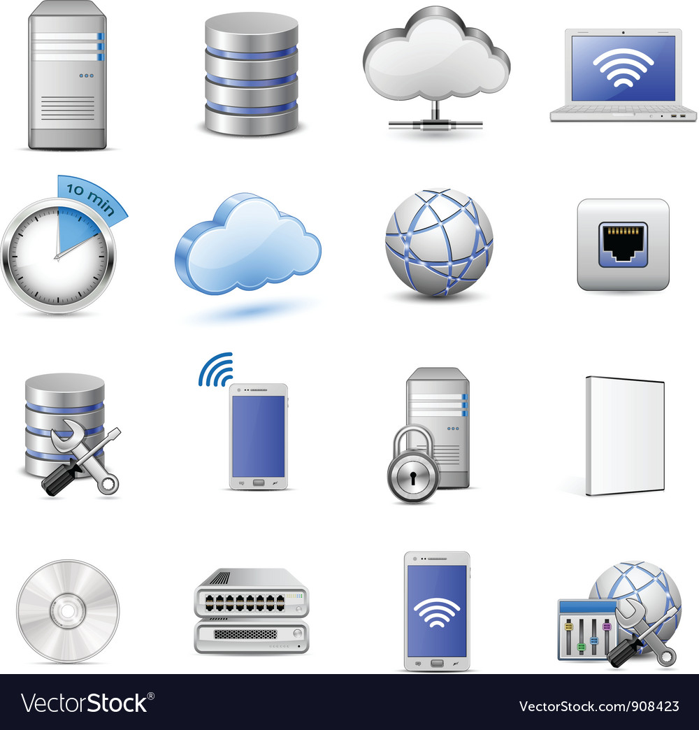 It web hosting icons vector
