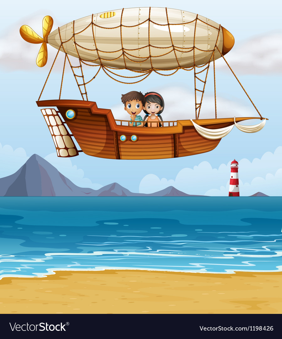 A boy and a girl riding an airship vector