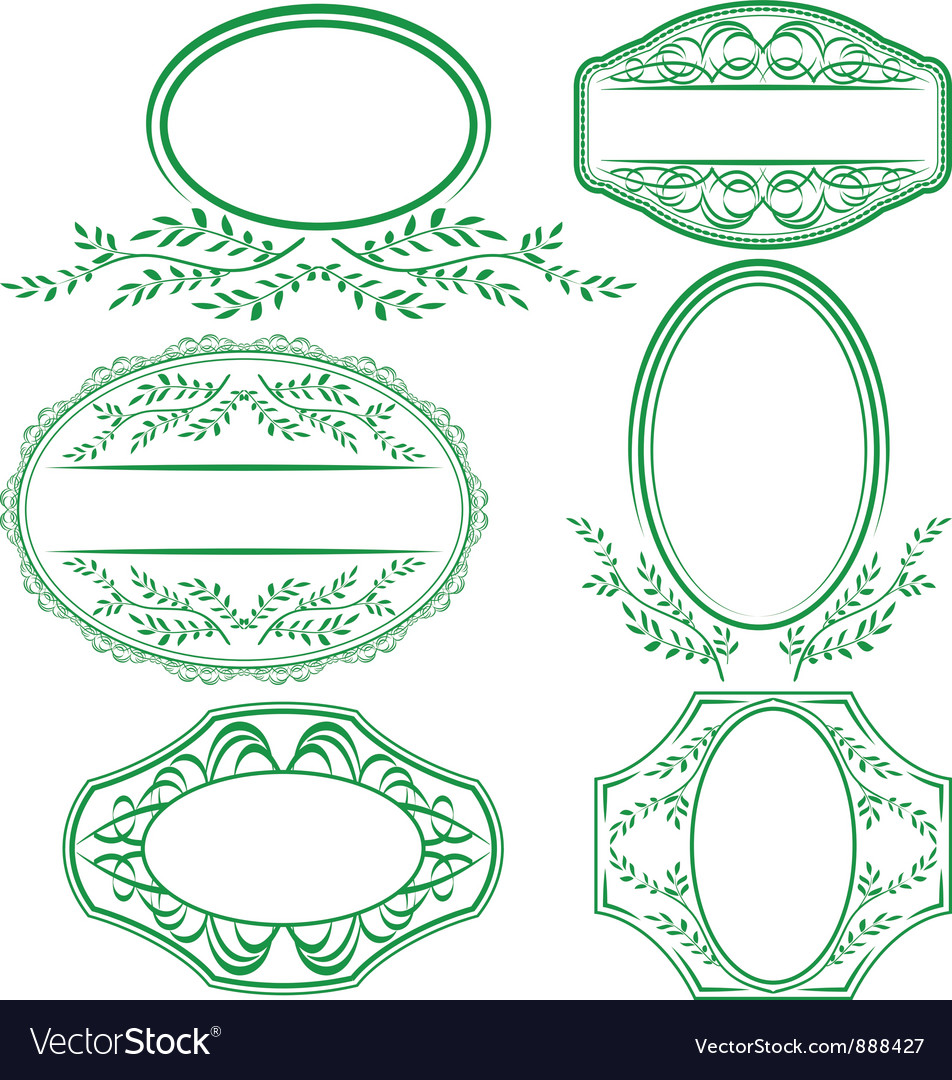 Frames with leaves and ornaments vector