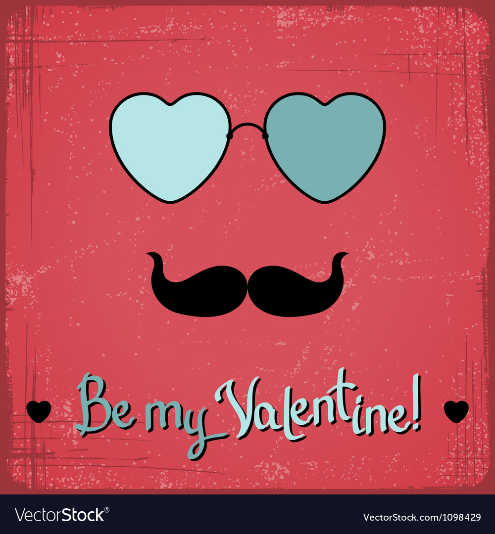 Valentine card with glasses heart and mustache vector