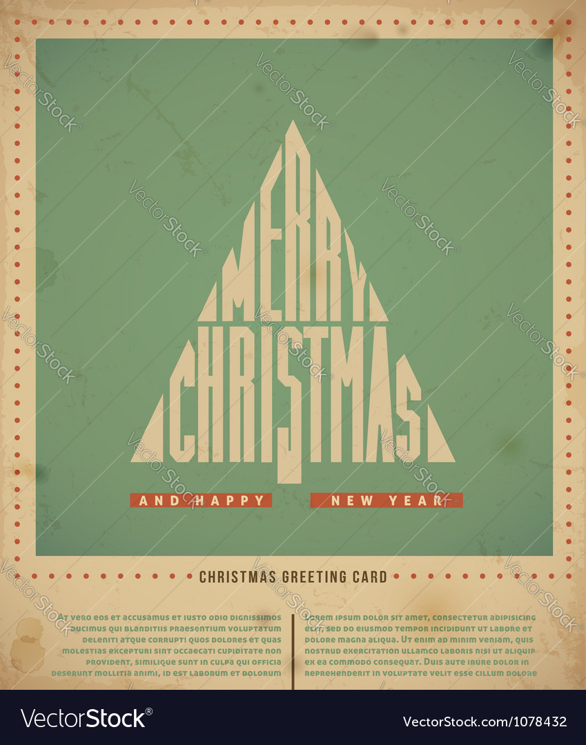 Retro christmas greeting card vector