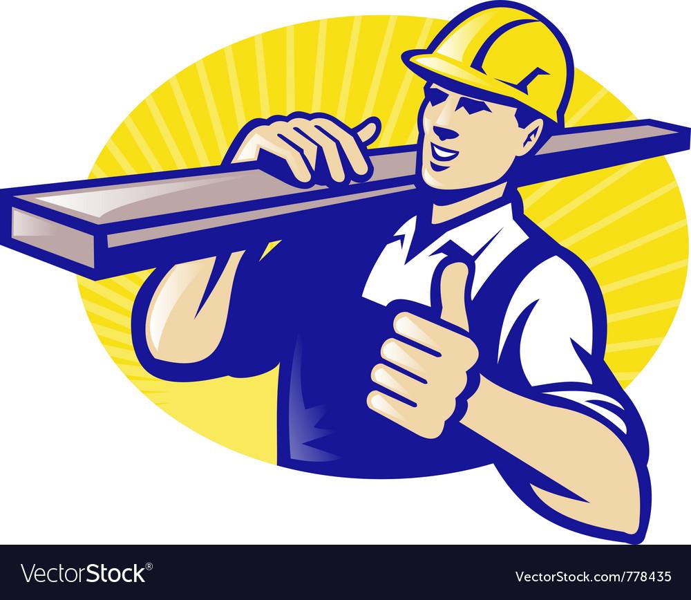 Carpenter lumberyard worker vector