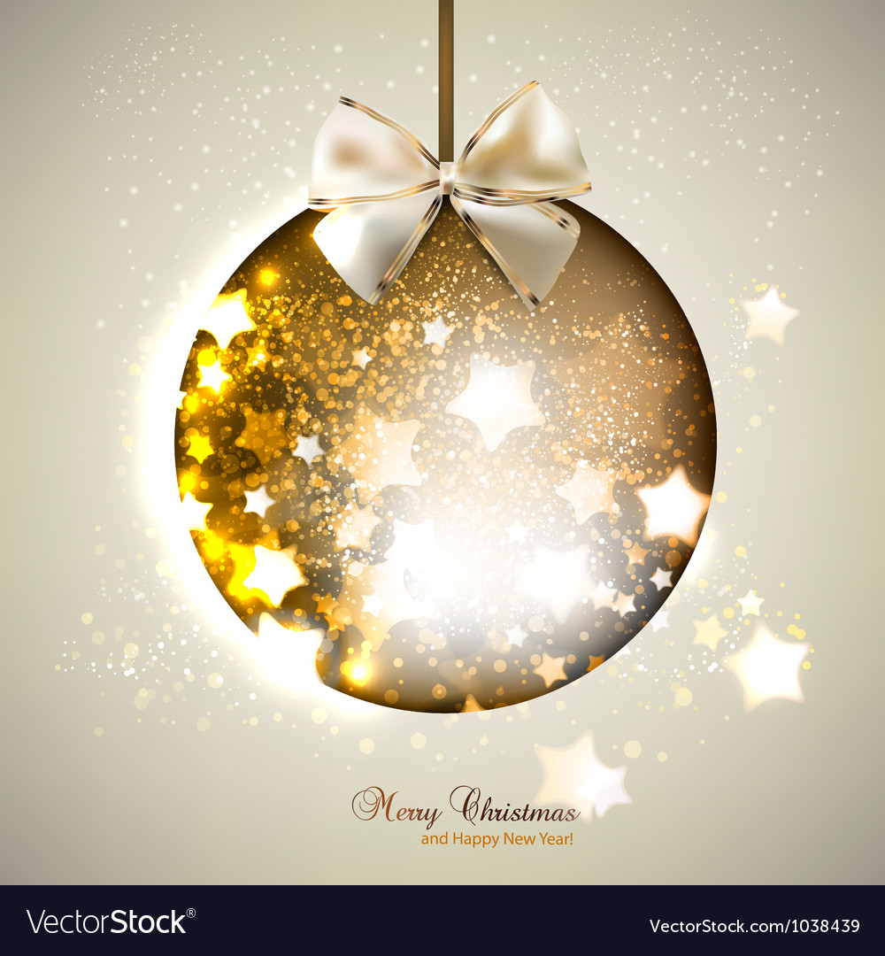 Elegant shiny christmas ball with ribbon christmas vector