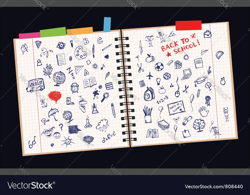 Sketches on page vector