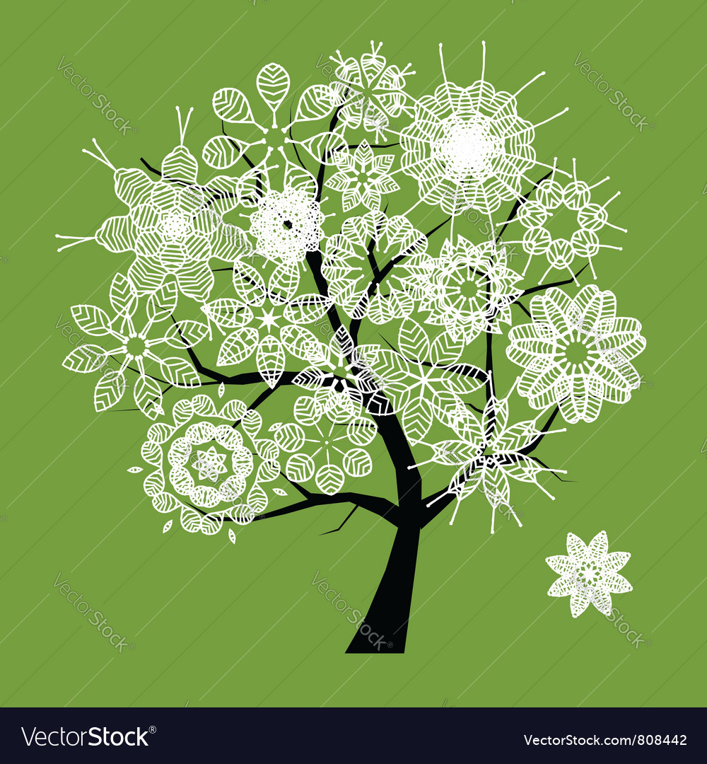 Spring beautiful white tree vector