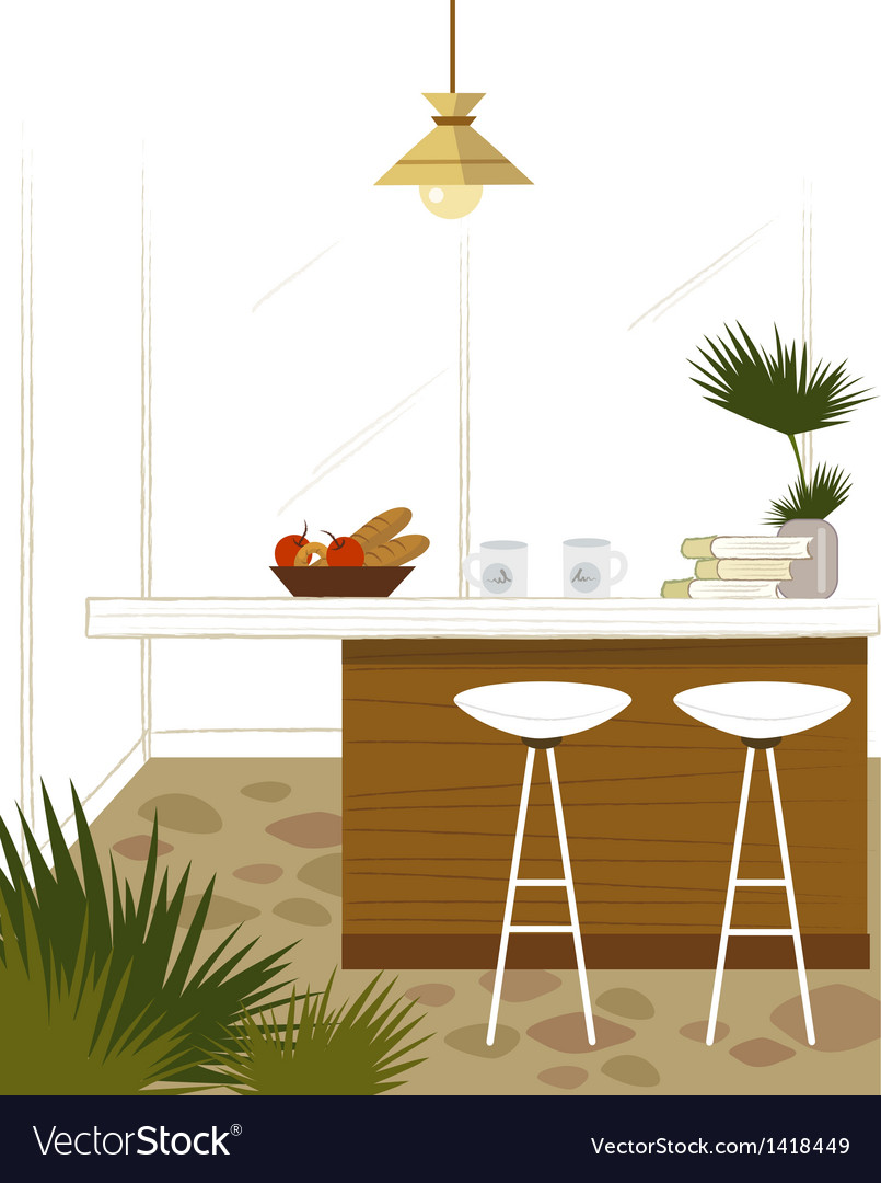 Modern kitchen bar vector