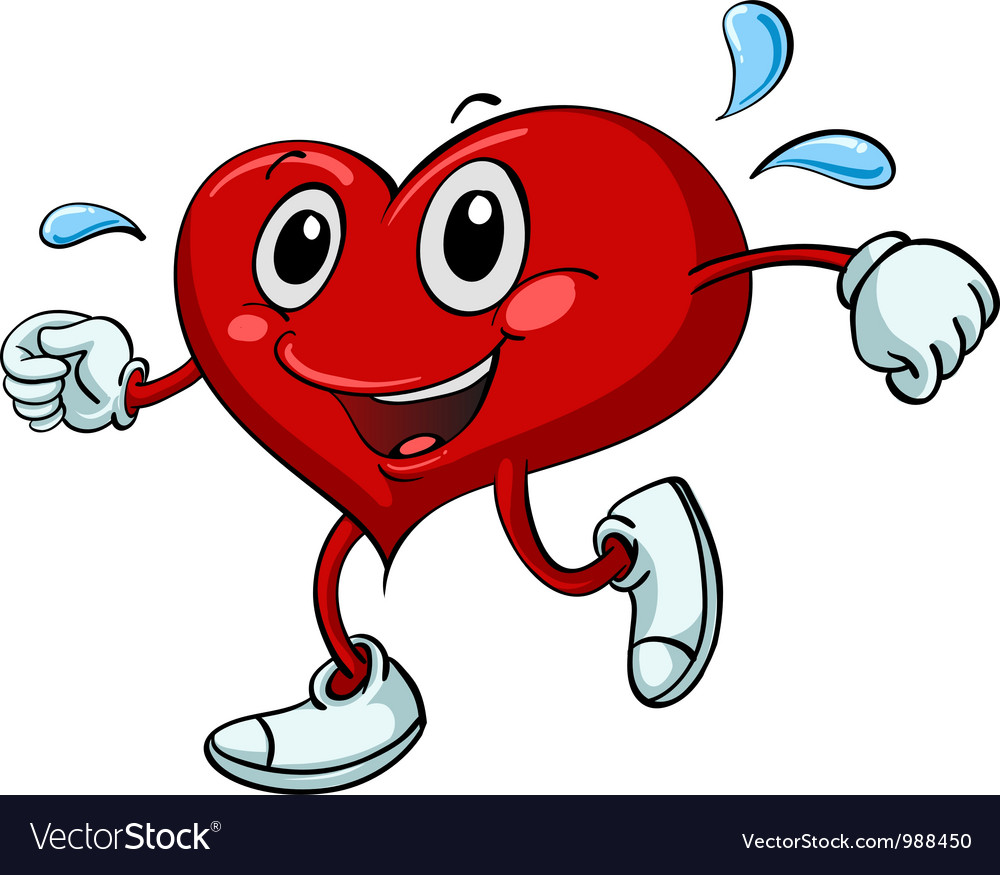 Active cartoon heart vector