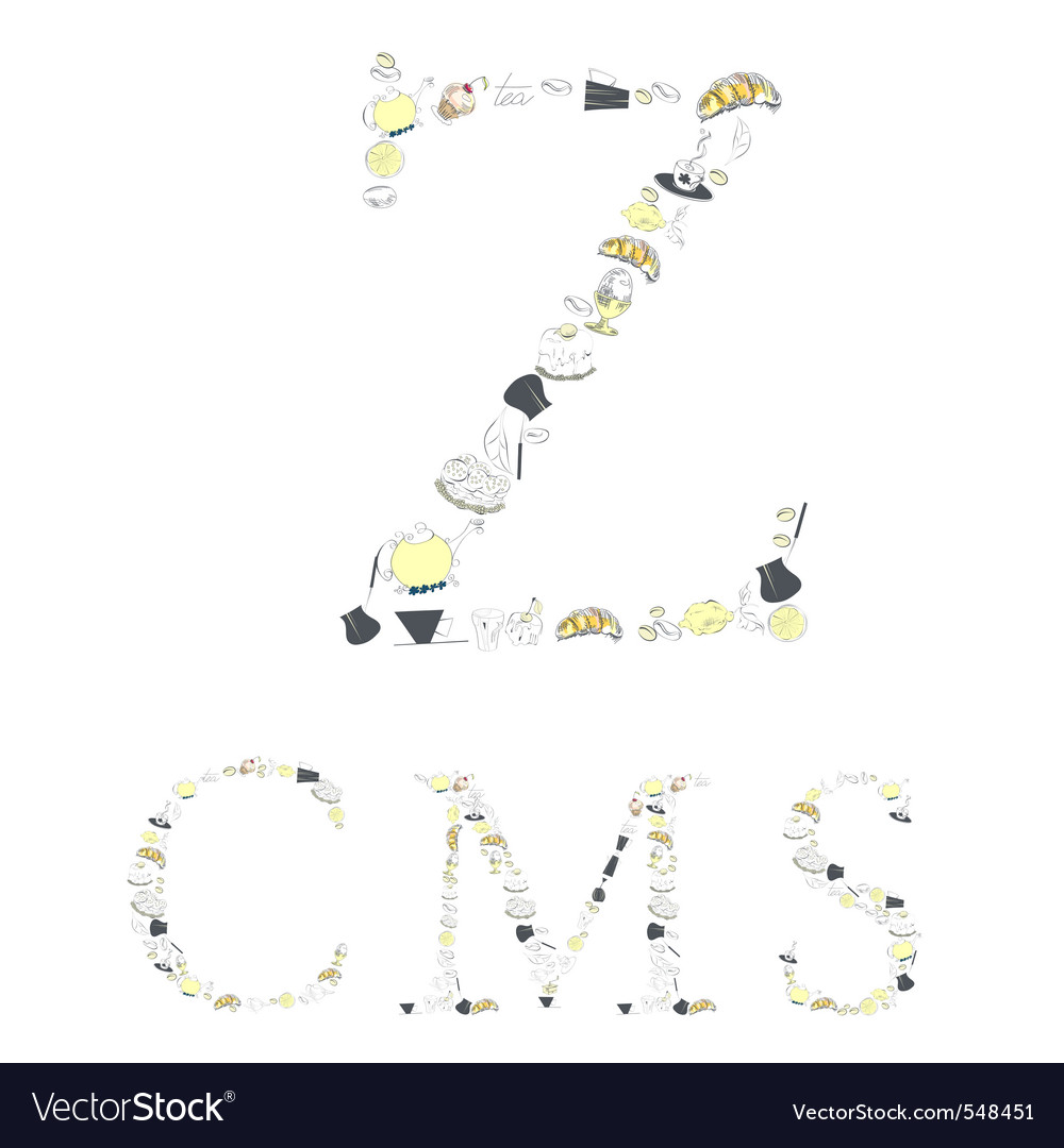 Decorative font with food element letters z c m s vector