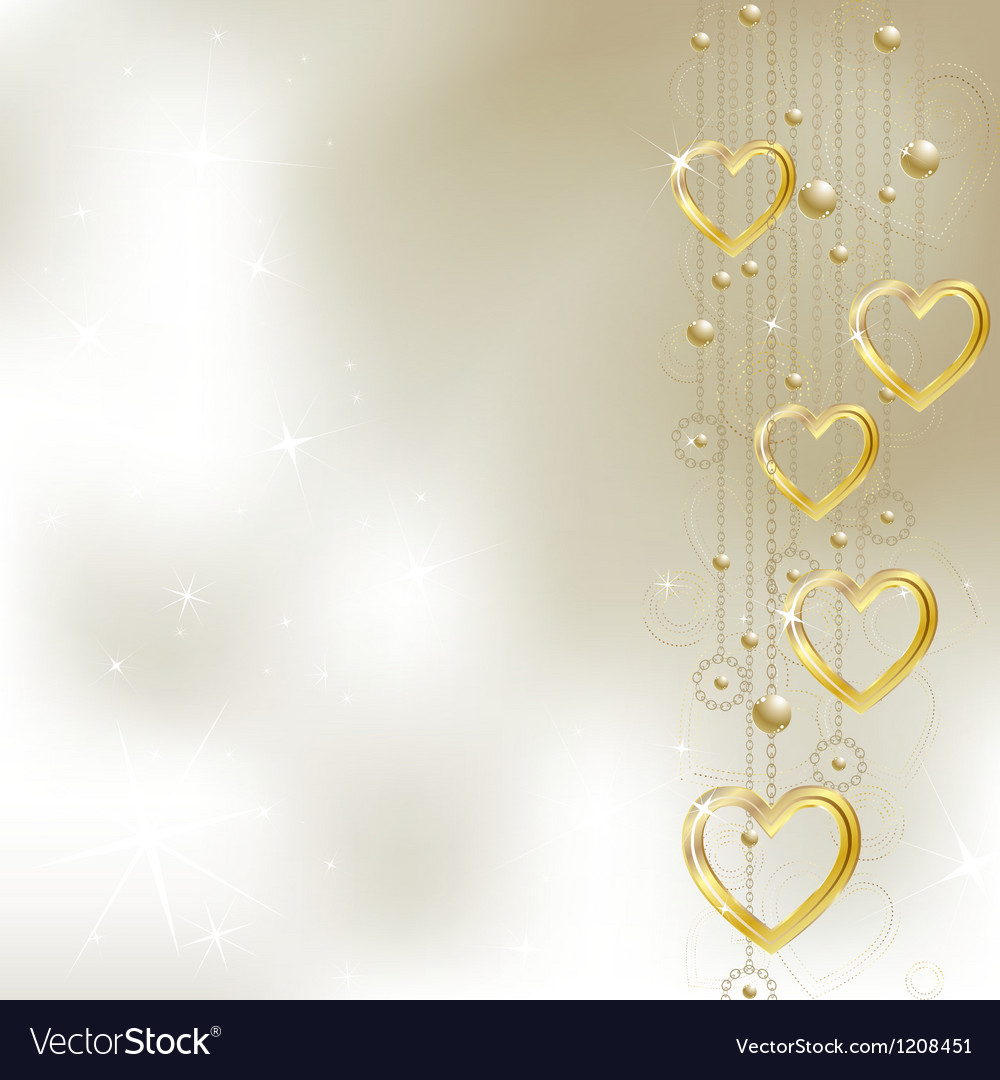 Light golden hearts vector