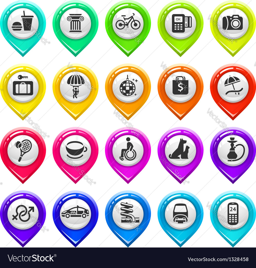 Map marker with icons-set two vector