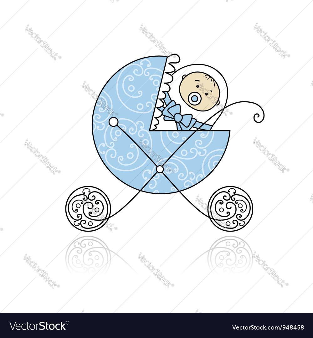Newborn in babys buggy for your design vector