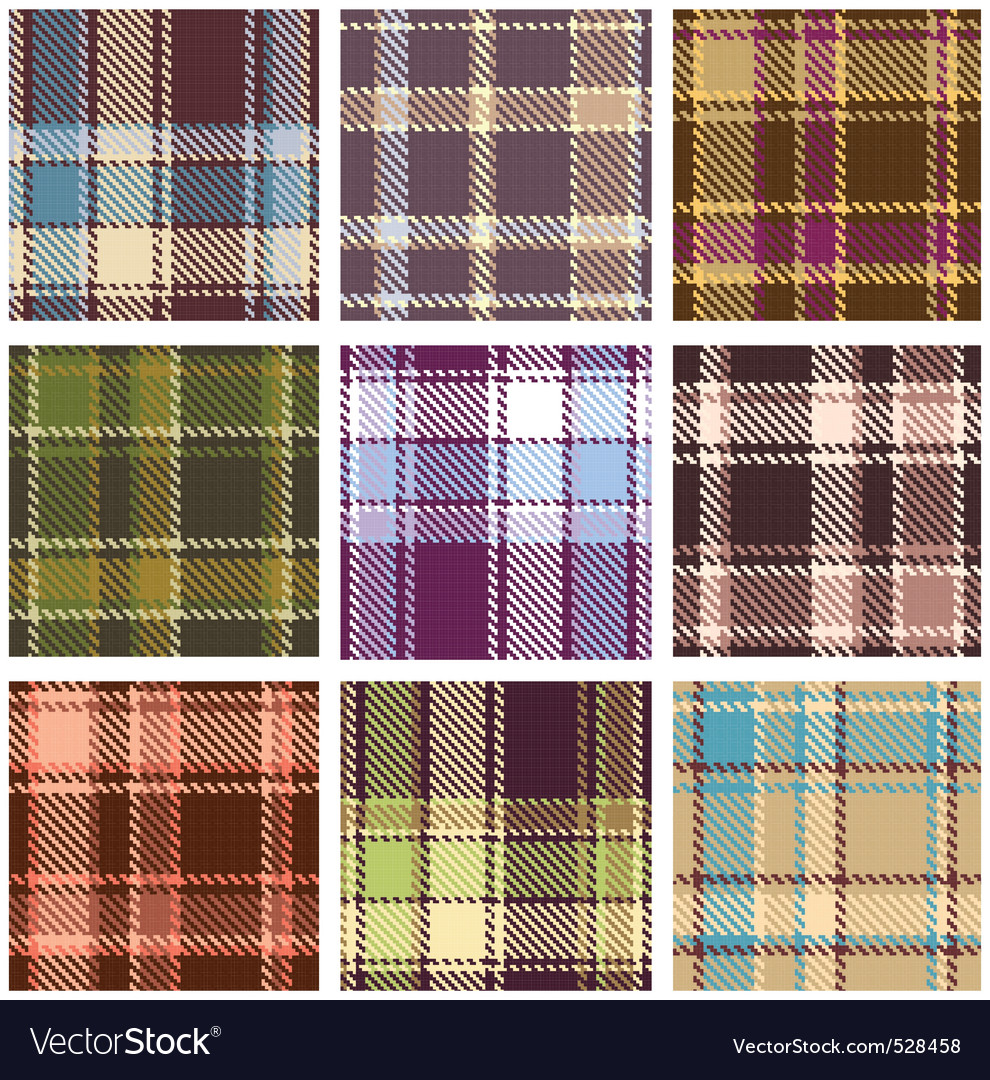 Set of seamless checkered  pattern vector