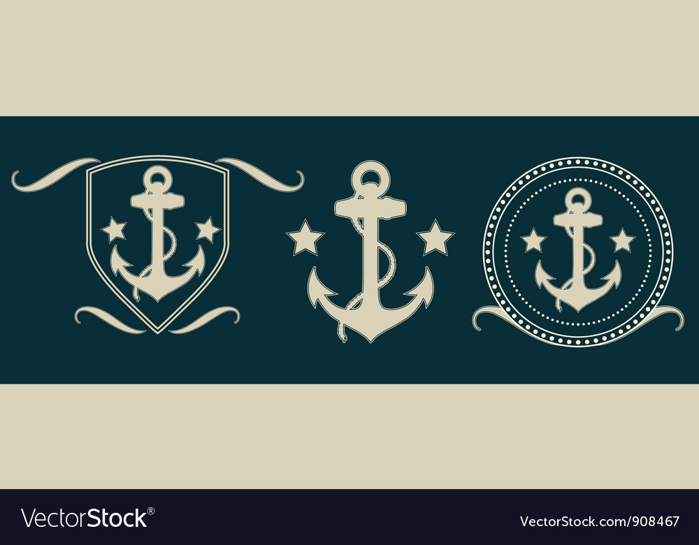 Anchors vintage set vector