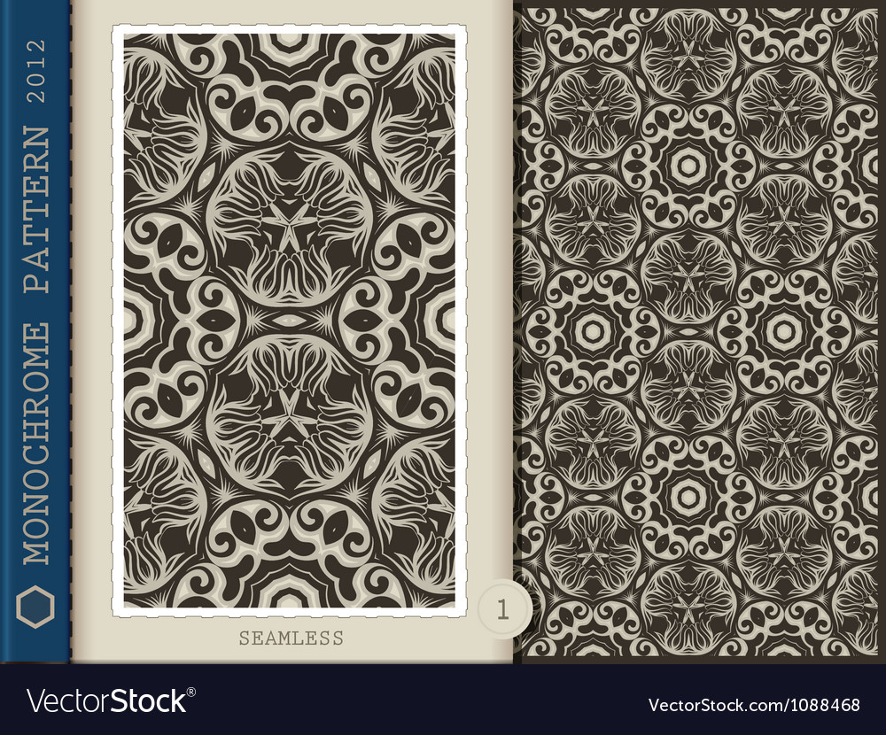 Seamless pattern monochrome vector