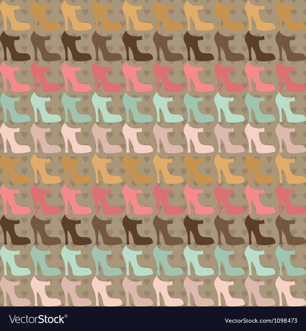 Seamless pattern with shoes in retro style vector