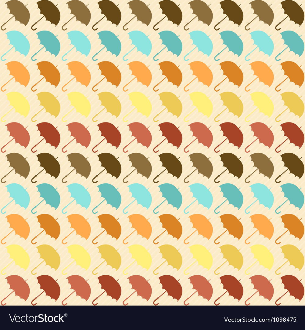 Seamless pattern with umbrellas in retro style vector