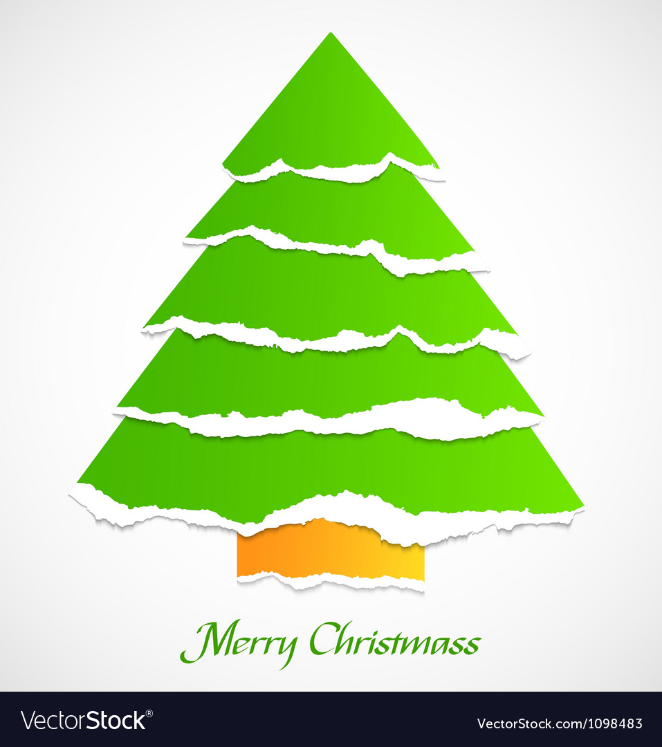 Torn paper green christmas tree vector