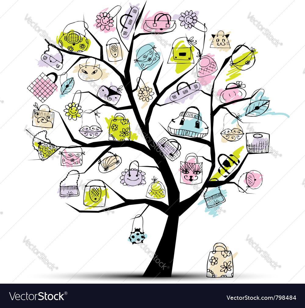 Shopping bag tree vector