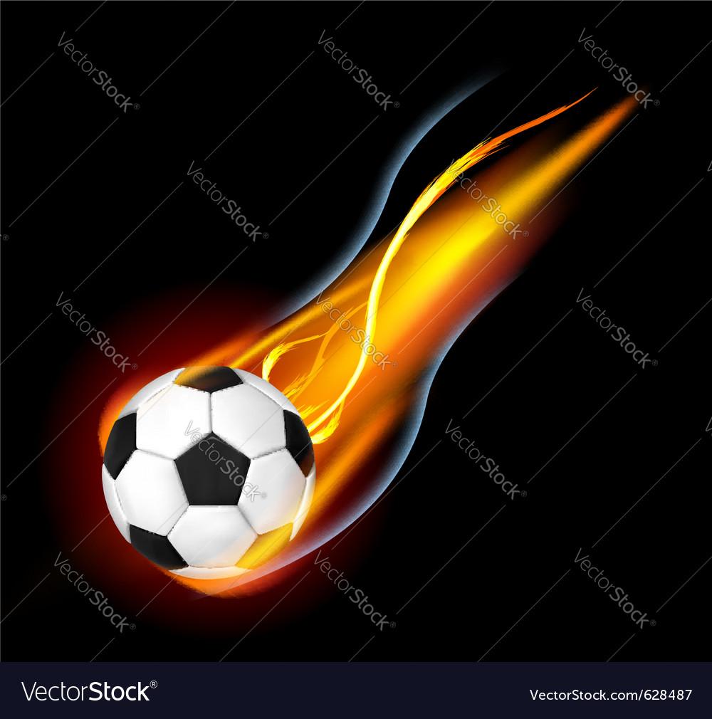 Soccer ball on fire vector