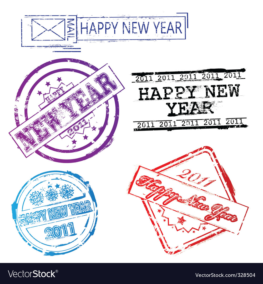 New year 2011 stamps vector