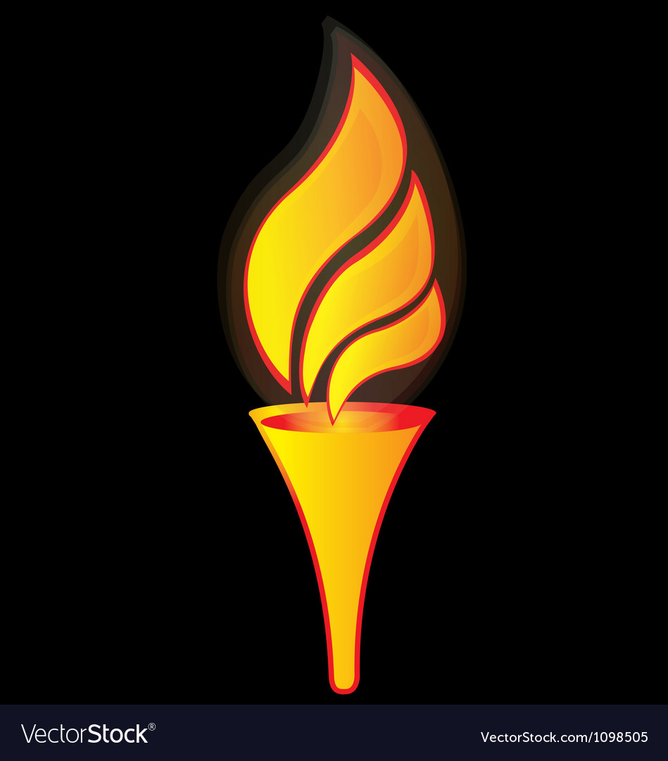 Flame torch for sports logo vector