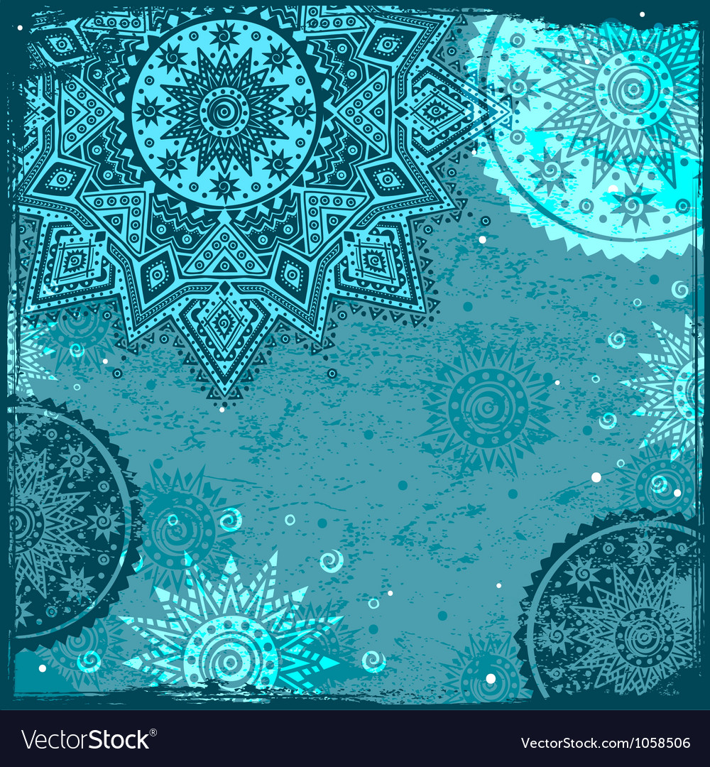 Blue indian ethnic ornament vector