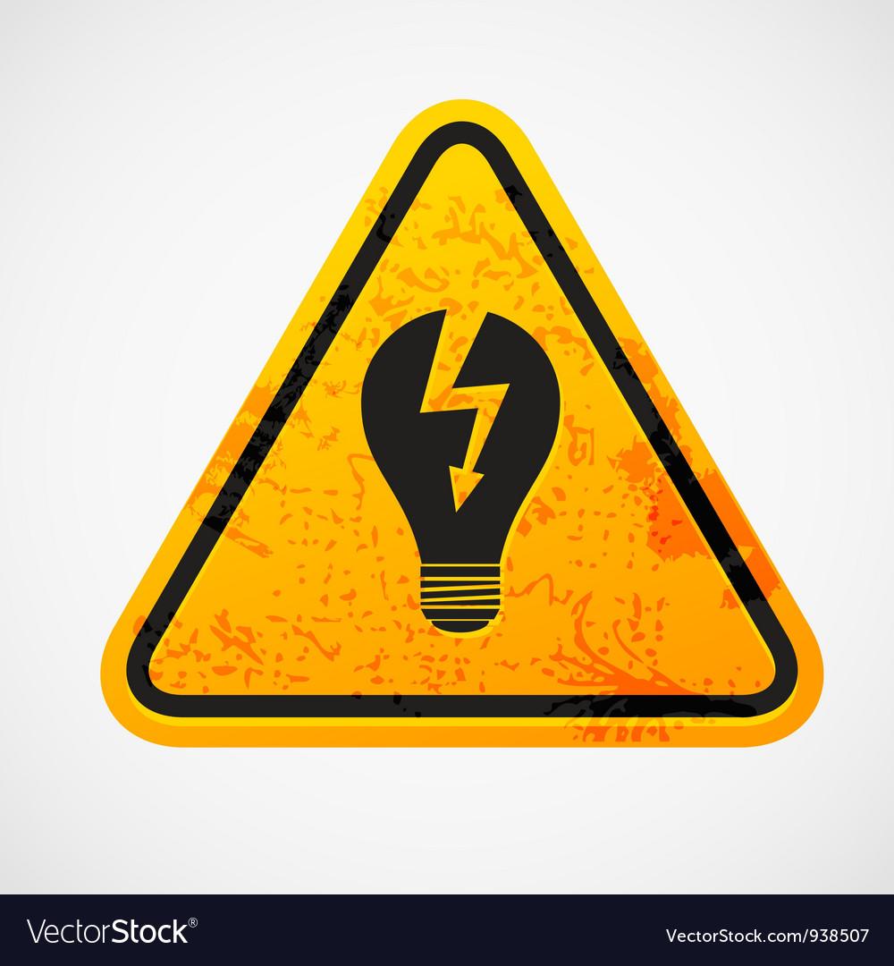 Triangle light bulb sign vector