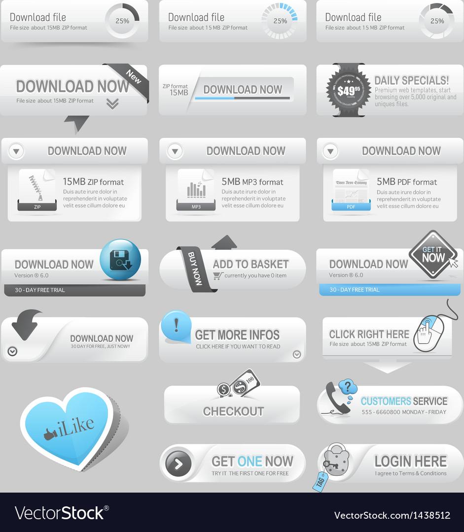 Web design template elements navigation buttons vector