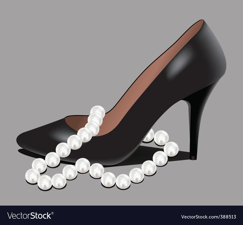 Shoe and pearl beads vector