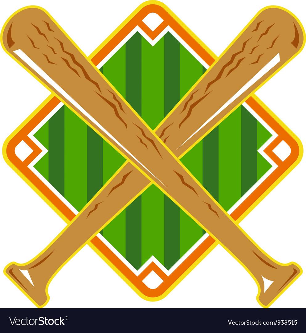 Baseball diamond crossed bat retro vector