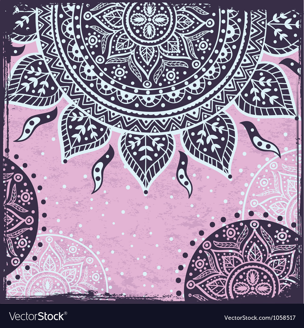Purple indian sun ornament vector