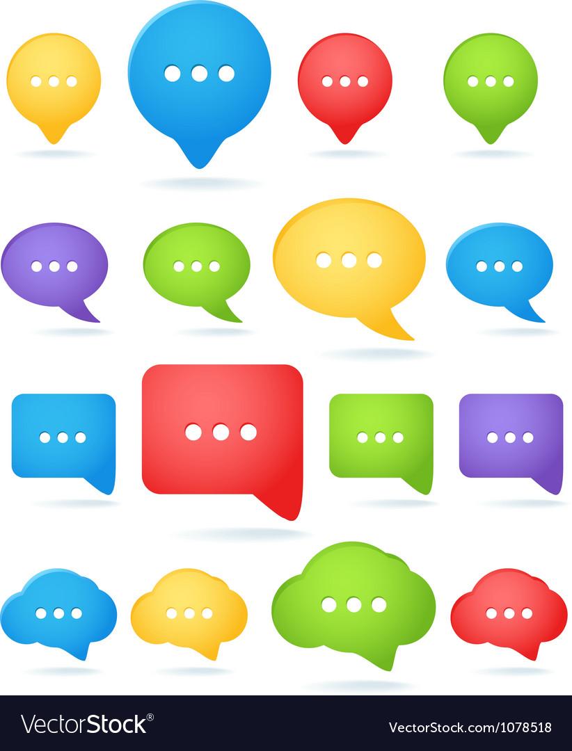 Color abstract speech cloud templates vector