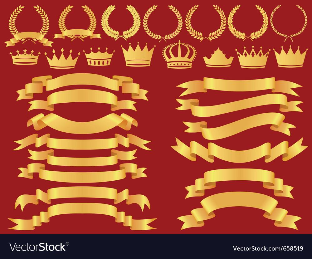 Gold bannerlaurel wreath and crown set vector
