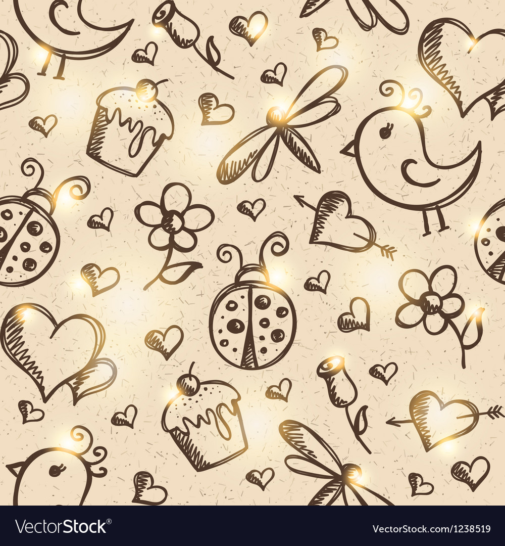 Romantic seamless pattern eps 10 vector