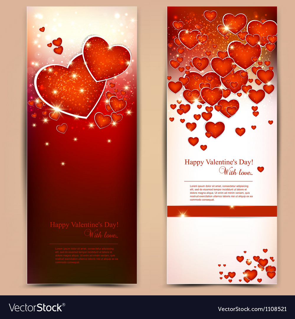 Beautiful greeting cards with red hearts and copy vector