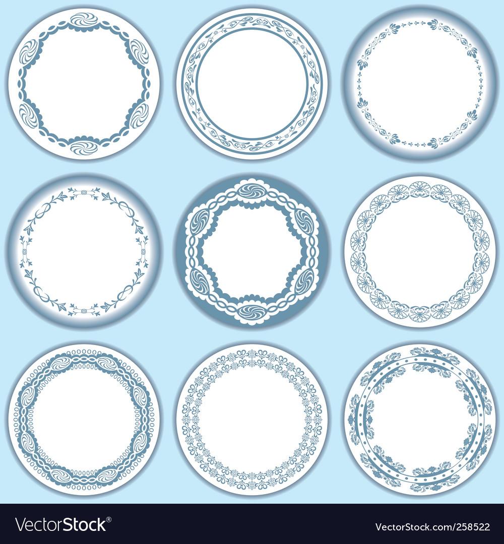 9 feminine blue labels set vector