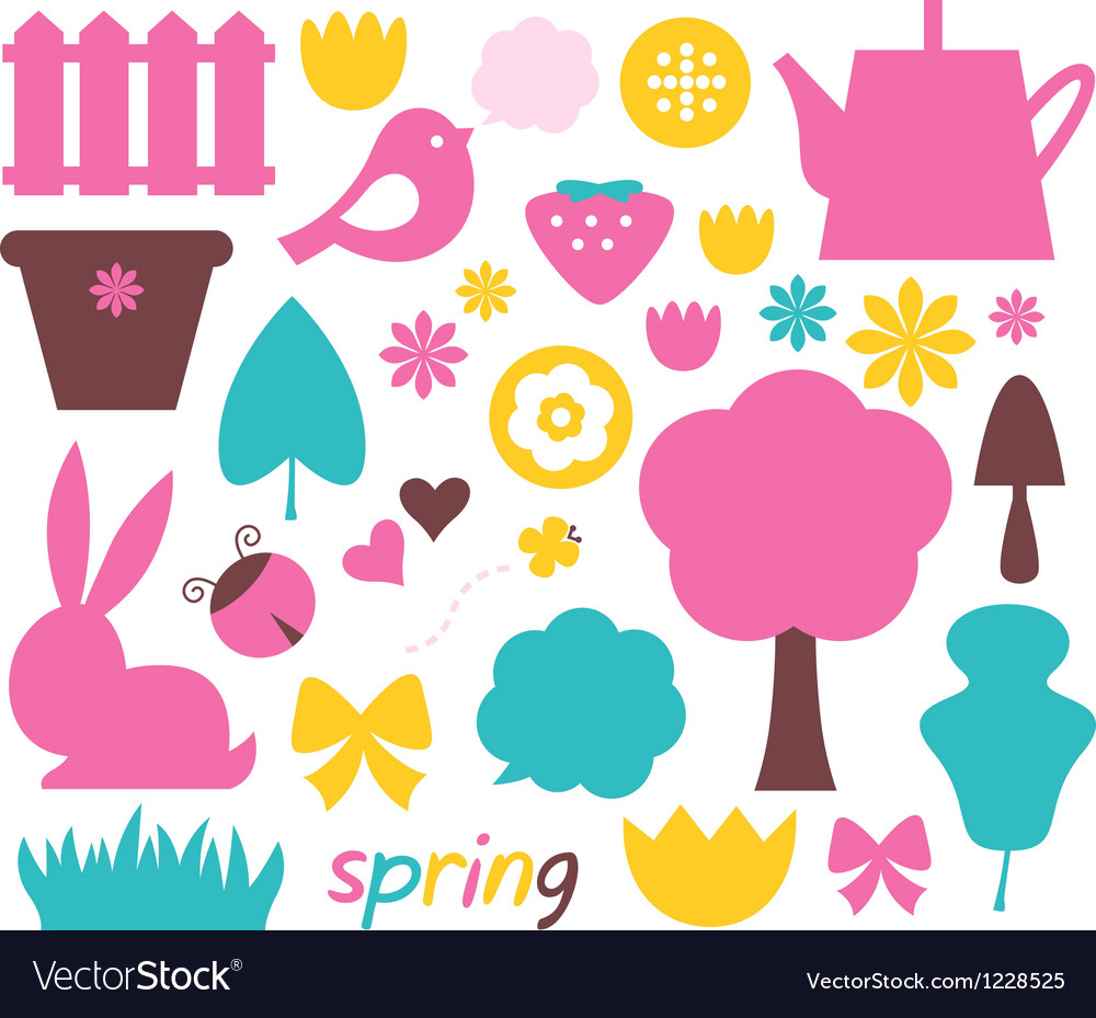 Cute spring and easter colorful design elements vector
