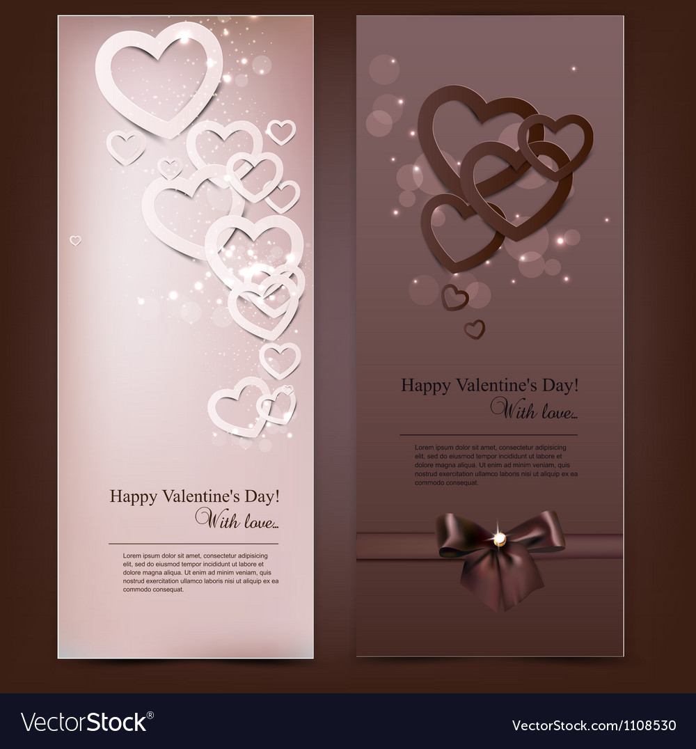 Greeting cards with hand made paper hearts and vector