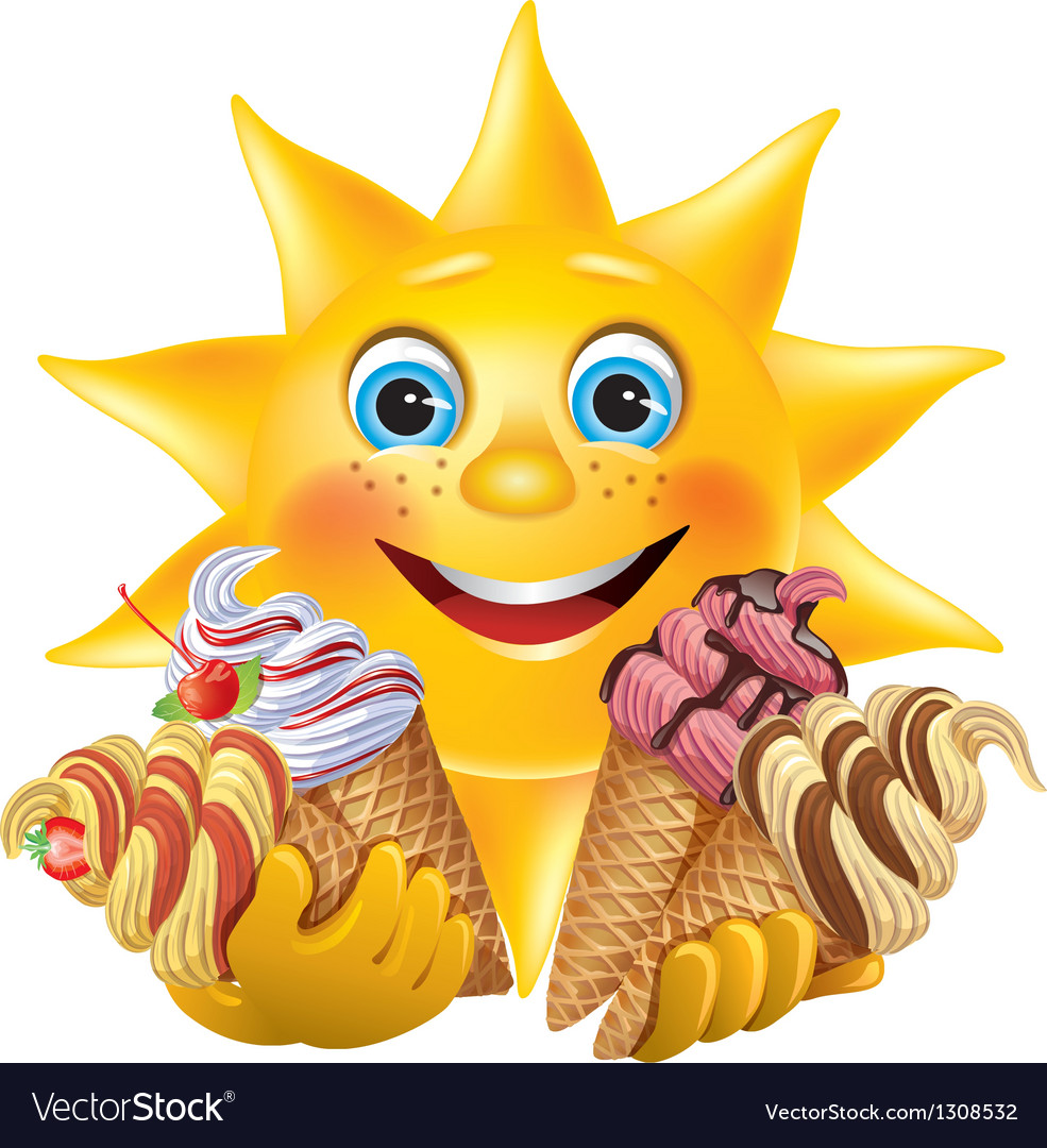 Funny sun with delicious ice creams vector