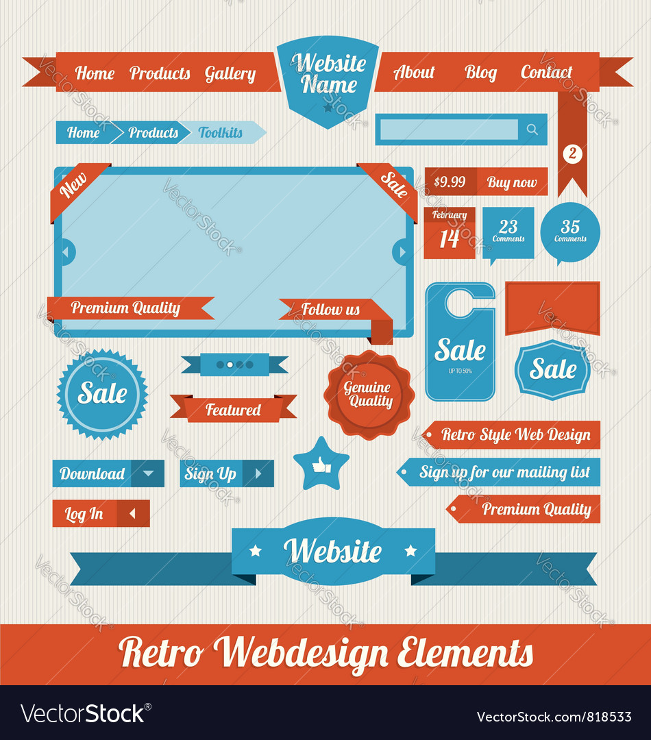 Retro web design elements vector