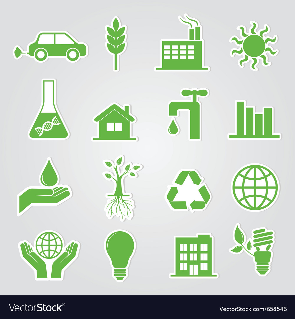 Earth conservation and ecology icon set vector