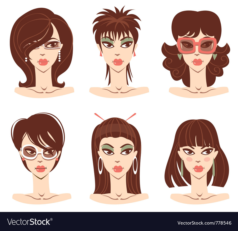 Woman portraits vector