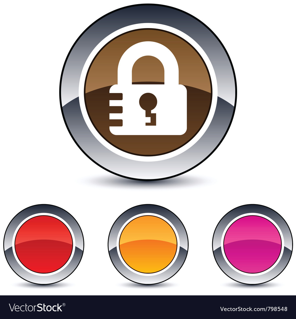 Lock round button vector