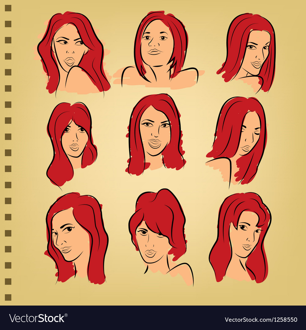 Woman face on paper with color vector