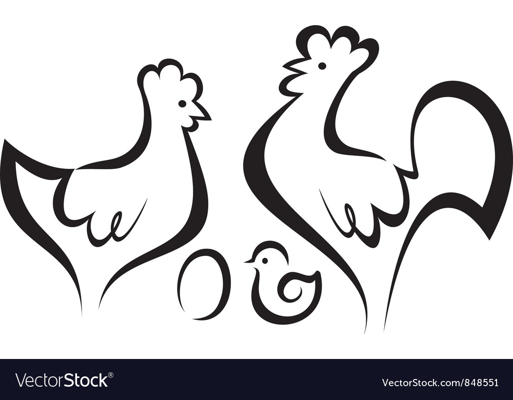 Chicken set vector