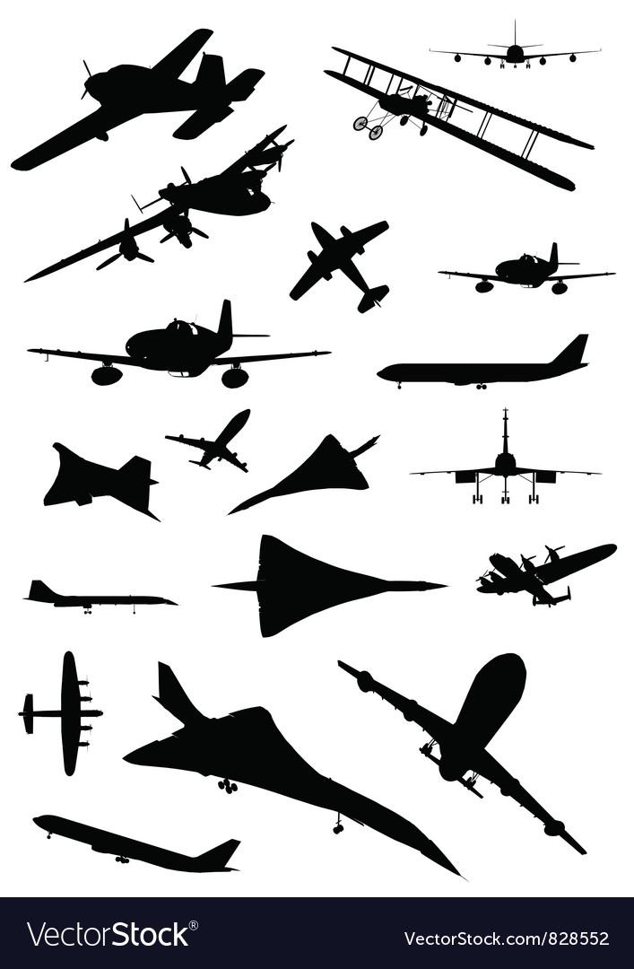 Vintage plane silhouette vector