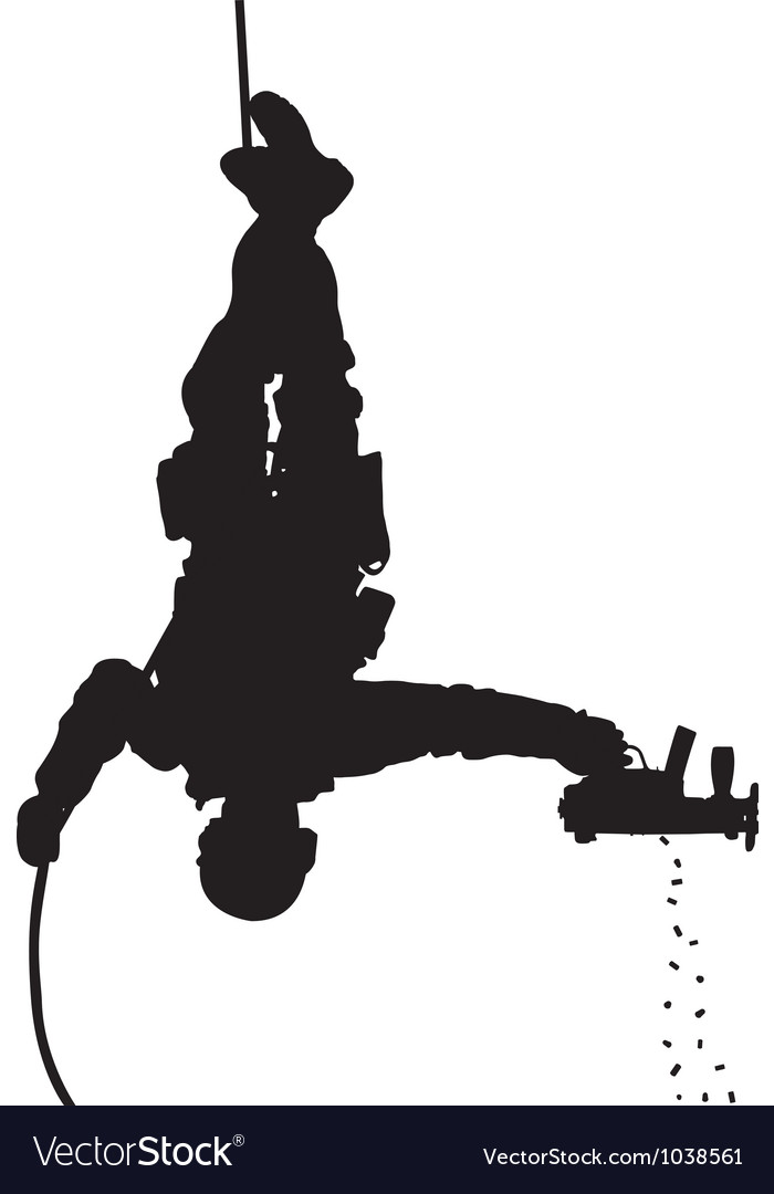Police rappelling silhouette vector